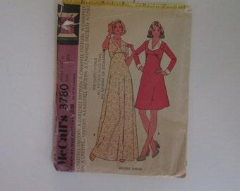 1973 uncut McCalls Mod Empire waist dress pattern #3780 misses size 10 bust 32 1/2