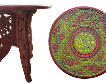 Small pedestal table, carved wood, India.