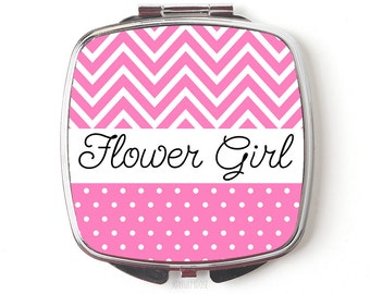 Flower Girl Compact Mirror - Flower Girl Gift - Wedding Party Accessories Compact Makeup Mirror