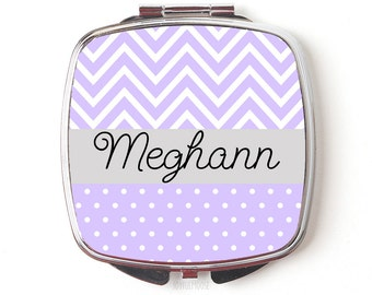 Personalized Bridesmaids Gifts - Personalized Compact Mirror - Lavender Wedding Pocket Mirror - Bridesmaids Gifts