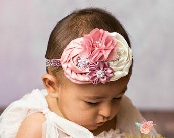 Baby headband, Newborn Headband, girls headband,Christmas Headband,Rhinestone headband, Flower girl headband,Ivory Headband, White headband