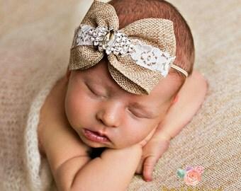 Newborn Headband, baby headbands , Burlap headband , Burlap Bow Lace Headband,Rustic Flower girl burlap headband, Lace headband rhinestone.