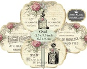Perfume Bottles Shabby Chic Label French Soap Logo Vintage Oval 3.5 x 2.5 inch Instant Download digital collage sheet O163