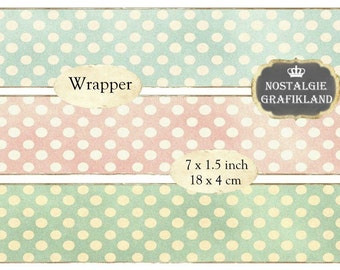 Wrapper Shabby Chic Polka Dots Pastel Background Soap Wraps Instant Download digital collage sheet E139
