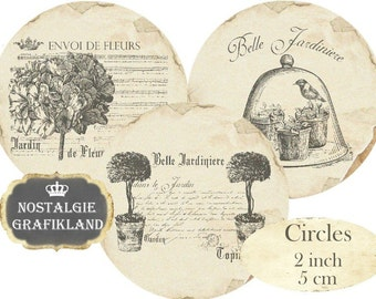 Circles 2 inch Vintage Garden Jardiniere Instant Download digital collage sheet C223 Flowers Jardin