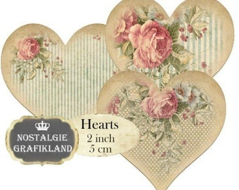 Shabby Chic Hearts 2 inch Instant Download digital collage sheet H100 heart labels
