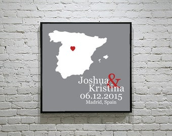 Spain Wedding Gift Custom Map Personalized Couple Art Personalized Spain Map Art Personalized