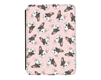 White & Grey French Bulldog Pink Pattern Kindle Paperwhite / Touch 2012 2013 2014 2015 2016 (All Models) PU Leather Flip Case Cover