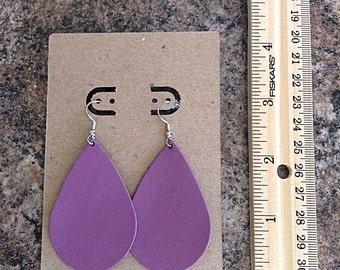 Purple Leather Tear Drop Earrings