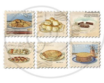 Food stamps. Old postage stamps. Vintage style fake stamps. Postage stamp art. Digital collage sheet. Pastries, cakes. Instant download PNG