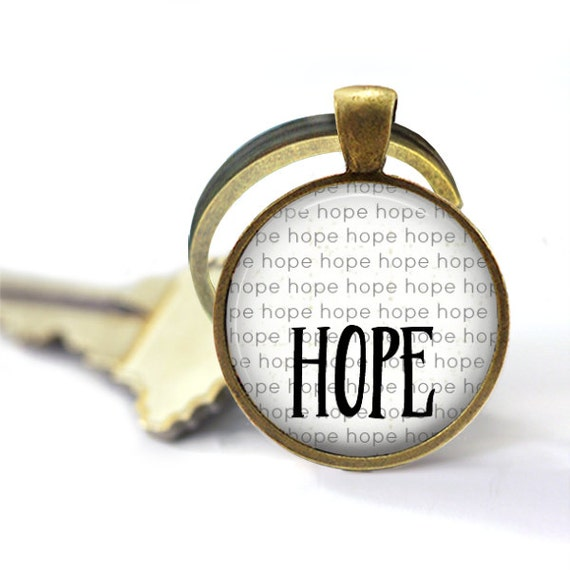 Hope Keyring, Survivor Keychain, Cancer Keychain, Stay Strong, Adoption Fundraiser, Metal Keychain, Key Chain, Encouragement Gift, Adoption
