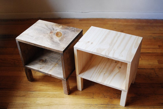 Pair Of Square Wood Nightstand Set Of 2 Side Table End Table