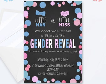 Pink and Blue Gender Reveal Invitation - He or She, Pink or Blue, Girl or Boy Invitation - Printable Gender Reveal Invites - Dots