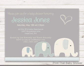 Baby Shower Invitation - Elephant Baby Shower - Printable Invitation - Baby Shower Invites - Elephant Invitation - Elly Patches