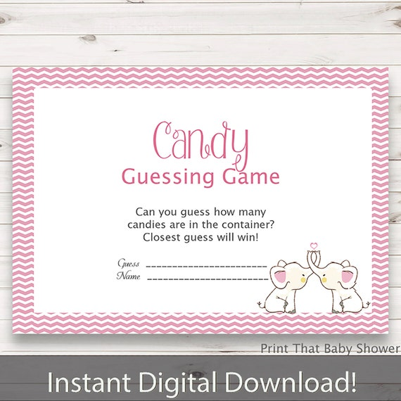 Good Baby Shower Games   Candy Guessing Game   Pink Elephant Baby Shower   Pink  Elephant Shower Games   Guess How Many Candies   Pink Elly