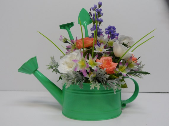 Items similar to watering can arrangement unique watering can decor watering can with roses - Unusual watering cans ...
