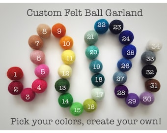 CUSTOM* Felt Ball Garland, Pom Pom Garland, Playroom decor, Birthday Party, Classroom decor, Nursery decor
