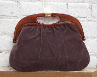Vintage Brown Velvet Suede Handbag Clutch