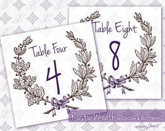 Table Card Printable Template Download   Digital Tented Table Number Download   Rustic Wreath in Cocoa & Butterfly