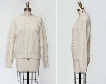 Wool Fisherman Sweater { M-L } Vintage 1970s Cable Knit Sweater >> 70s Cream Sweater