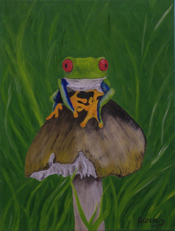 Frog Oil Painting Frogs Red Eyed Tree Frog Original Oil
