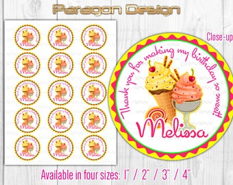 Sweet Party Custom Thank You Stickers, Cupcake Toppers, Signs - Printable Digital File