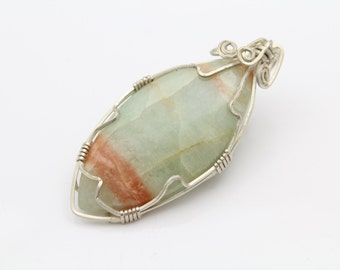 Artisan Wire-Wrapped Pendant of Orange Banded Green Quartzite and Sterling Silver. [9580]