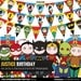 Justice League party package, to decor your superhero birthday party - Printable PDF files.