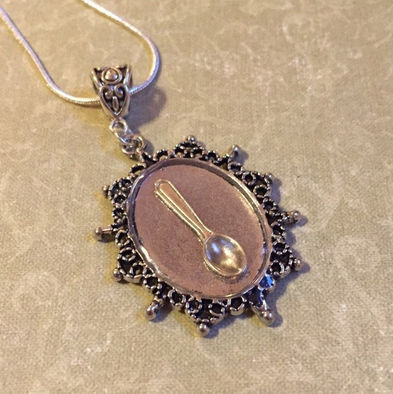 silver spoon theory resin necklace pendant or keychain