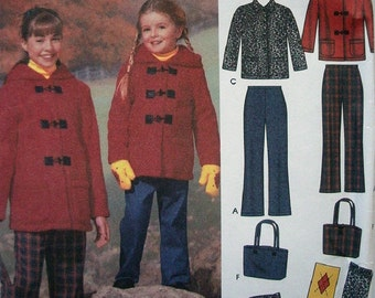 Simplicity Easy-to-Sew Pattern 5863 Girls Pants, Jacket, Scarf, Mittens and Bag Size 3-4-5-6 UNCUT Pattern Easy Girls Fashions Dated 2002