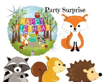 Woodland Animal Birthday Balloons Fox Squirrel Hedgehog Racoon woodland animal birthday balloons