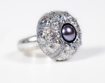 Sea Urchin Ring with Pearl