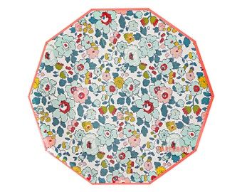 Floral Paper Plates - Large - by Meri Meri ( Liberty Betsy ) Modern Chic Hexagon / Light Pink Mint Green / Garden Party London / Tea Party