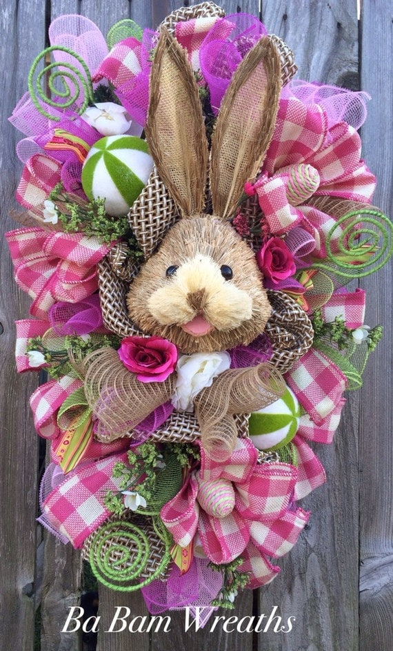 Bunny Wreath Easter Swag Spring Wreath Rustic Easter Swag