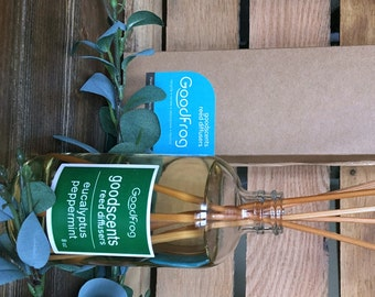 Eucalyptus Peppermint Reed Diffuser 8oz. Responsibly Harvested Rattan VOC's, DPG, and Phthalate FREE Infused w/Natural and Essential Oils