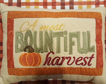 """Bountiful Harvest Autumn Pillow Quilted Embroidered 11""""x14"""""""