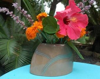 Ceramic oval flower vase, hand built, modern, flower pot, rustic pottery