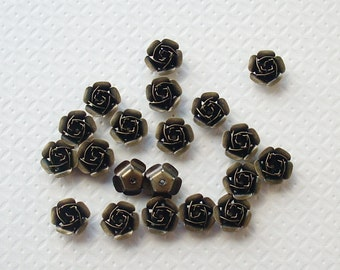 pk of 20 Antique Bronze Rose Flower Metal Beads 15mm