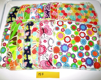 15 Double Sided Flannel Family Cloth Wipes Girl Flowers Butterfly Prints Cloth Wipes Diaper Bag Wipes Sustainable Unpaper Napkins (15F)