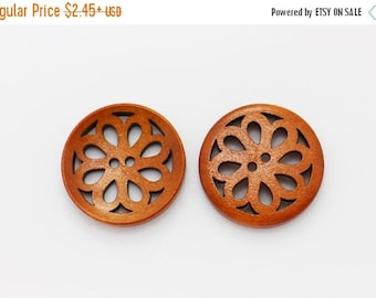 Flower Filigree Wood Buttons, Natural Wood Button, Brown Wooden Buttons, Chinese Style Floral Button, Large Button,Coat Button, 30mm