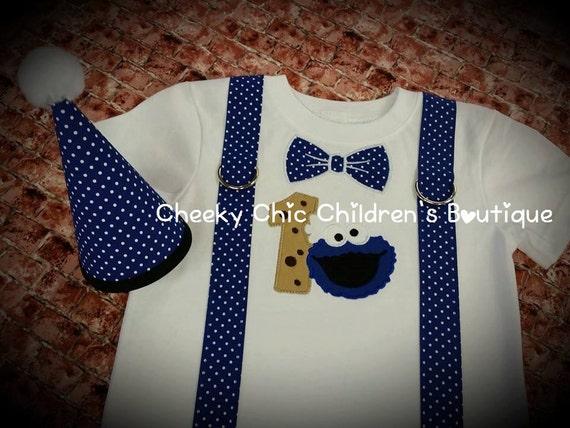 COOKIE MONSTER Tie and Suspender Birthday Tee