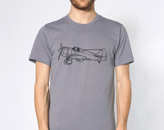 KillerBeeMoto: Commonwealth Aircraft Corporation Boomerang Fighter Aircraft Side View Short or Long Sleeve T-Shirt