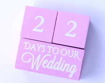 Wedding Countdown blocks, bridal shower gifts, engagement photo props, engagement party