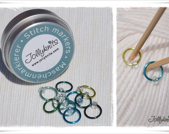 Stitch Markers in a Tin