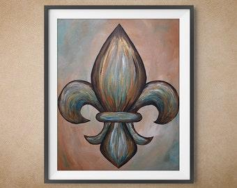 Digital Art Print, Fleur De Lis, Blue, Green and Brown Multicolor, Multiple Sizes Available