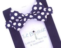 Navy Polka Dot Bow Tie, Navy Suspenders, Adult, Mens, Navy Braces, Toddler Suspenders, Kids, Baby, Infant, Ring Bearer Gift, Page Boy Braces