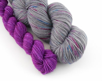 LOVE SOCK,Souris girly/prune, merino nylon sock yarn ,120g
