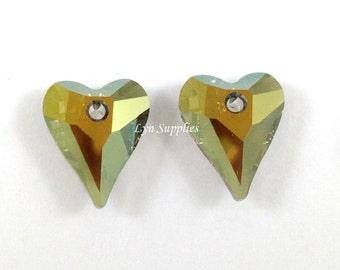6240 IRIDESCENT GREEN Swarovski Crystal 12mm Wild Heart Pendant 2pcs Love Valentine's
