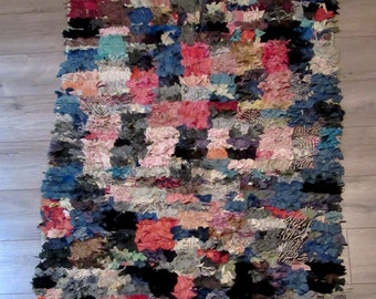 """Moroccan rug boucherouite ref 054 (or boucharouette) '69 x 41 1/3""""  berber tribal art"""