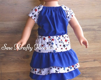 "Doll Outfit - Red, White and Blue Top and Matching Skirt - 18"" doll like American Girl"